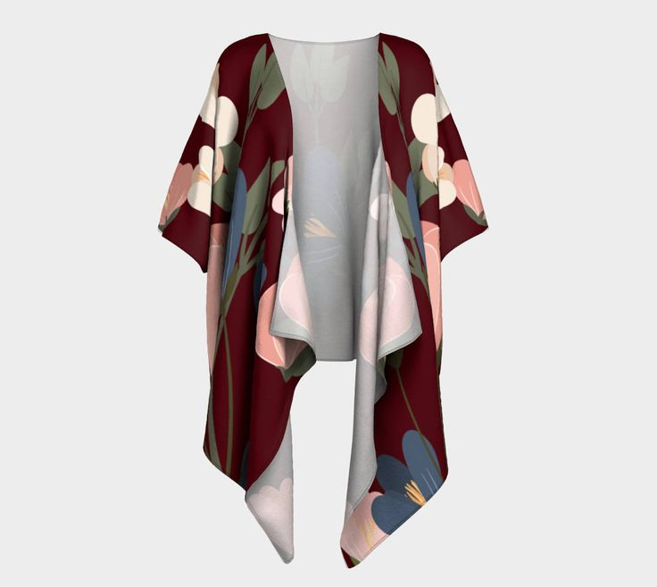 Burgundy Floral Fall Draped Kimono, wrap, gift for her, Canadian made by CreateBeing on Etsy