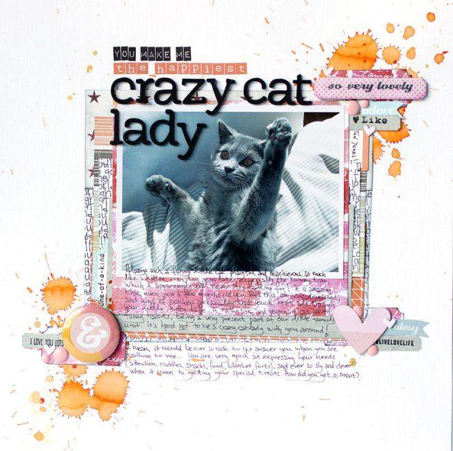jenandtricks - 12x12 Scrapbook Layout - Crazy Cat Lady. Visit my blog at http://jenandtricks.com.