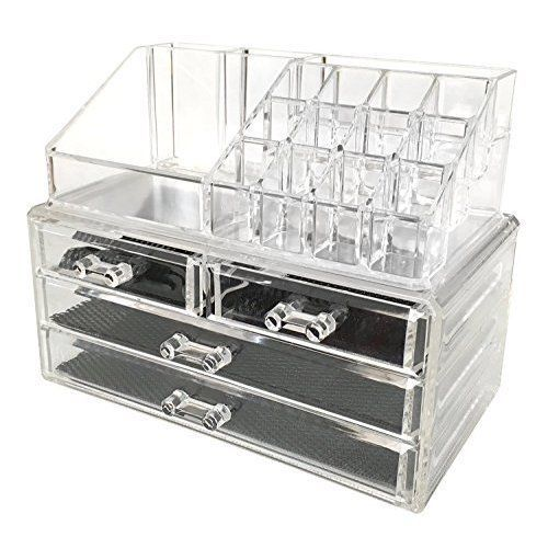 Small Makeup Organizer Jewelry Cosmetic Storage Two Pieces Boxes For Women #Intriom
