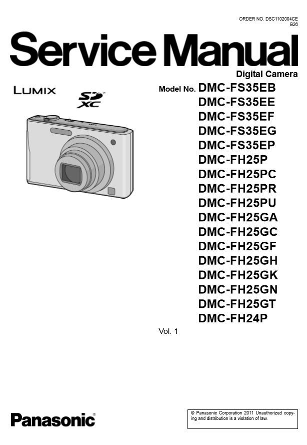 Panasonic Lumix Dmc Fh24 Fh25 Fs35 Digital Camera Service Manual Repair Guide Digital Camera Repair Guide Repair