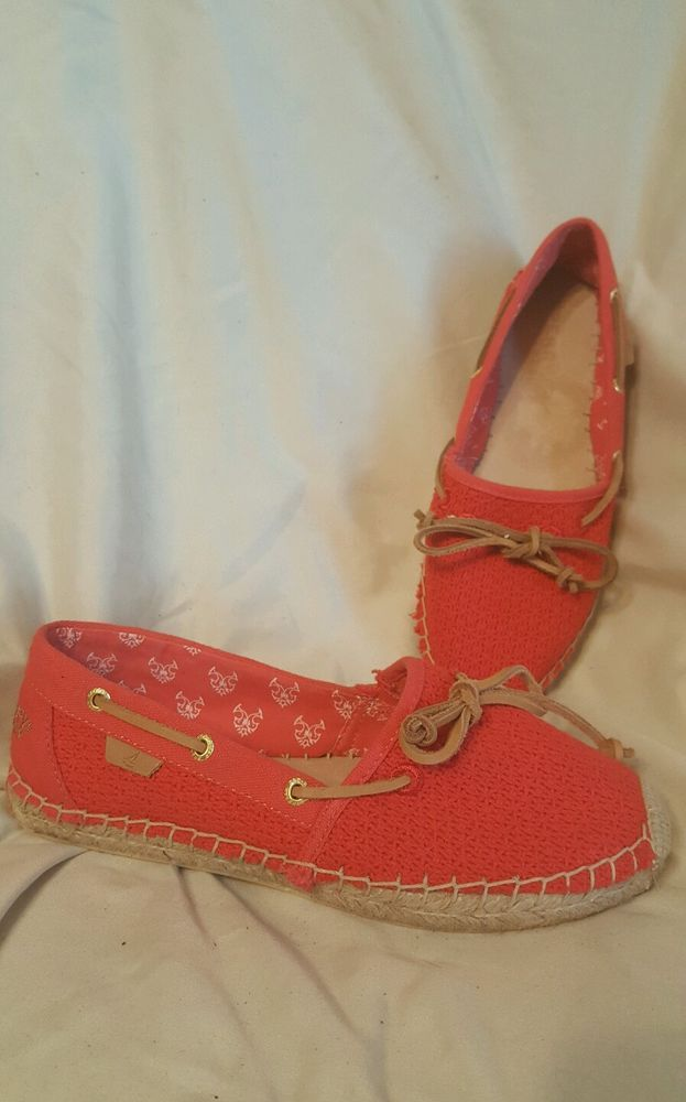 awesome! no obvious signs of wear<br/><br/>Women's Sperry Top-Sider Katama bright and cheerful coral espadrille flats size 7.5 M. Beautiful condition, no noticeable flaws or obvious signs of wear. Comfortable cotton/canvas uppers, leather footbed and cord. Nice!! | eBay!