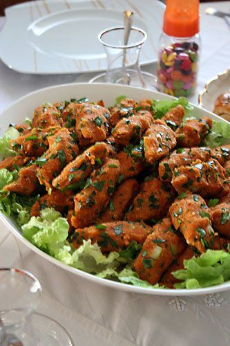 Turkish food - Mercimek köftesi - Red Lentil Balls with herbs onions