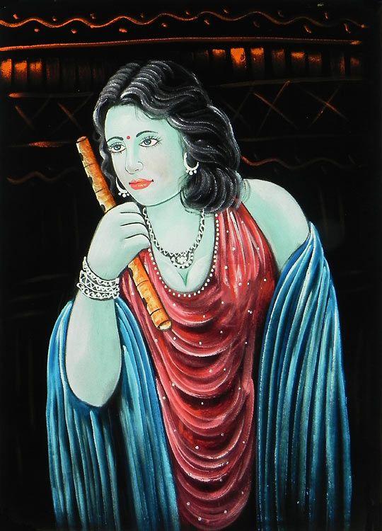 Young Muralidhar Krishna (Painting on Velvet Cloth - Unframed)