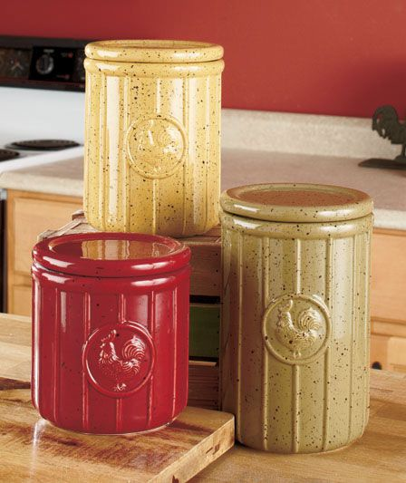 Decorative Canister Sets Set Of 3 Speckled Rooster Canisters Country Kitchen Counter Decor