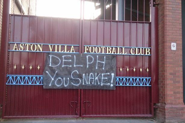 A Fabian Delph banner left outside Aston Villa's Villa Park stadium