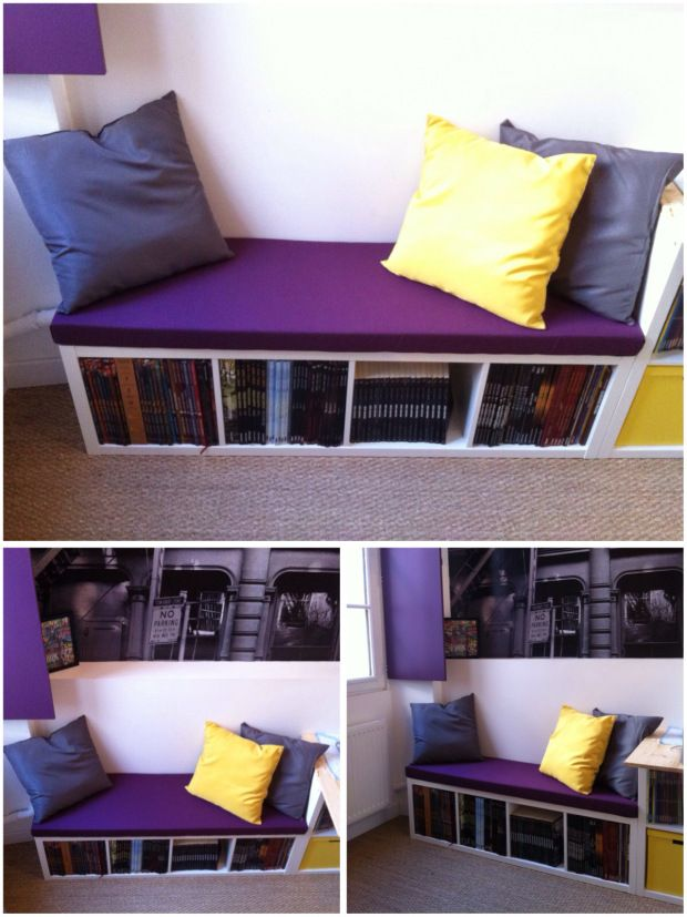 une banquette diy avec kallax cases 4s cases and mousse. Black Bedroom Furniture Sets. Home Design Ideas