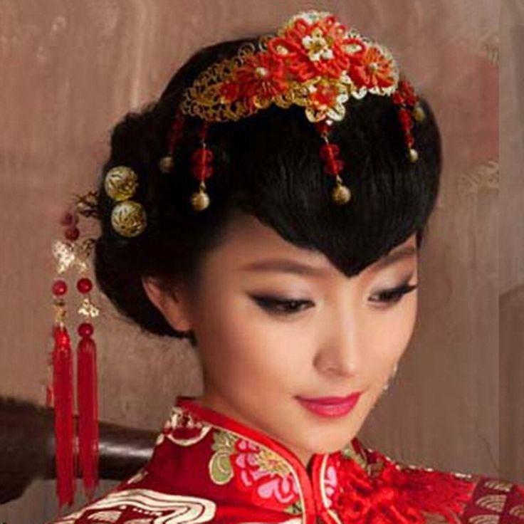 Нежный кисточкой красное золото китайский стиль волосы аксессуары замуж аксессуары
