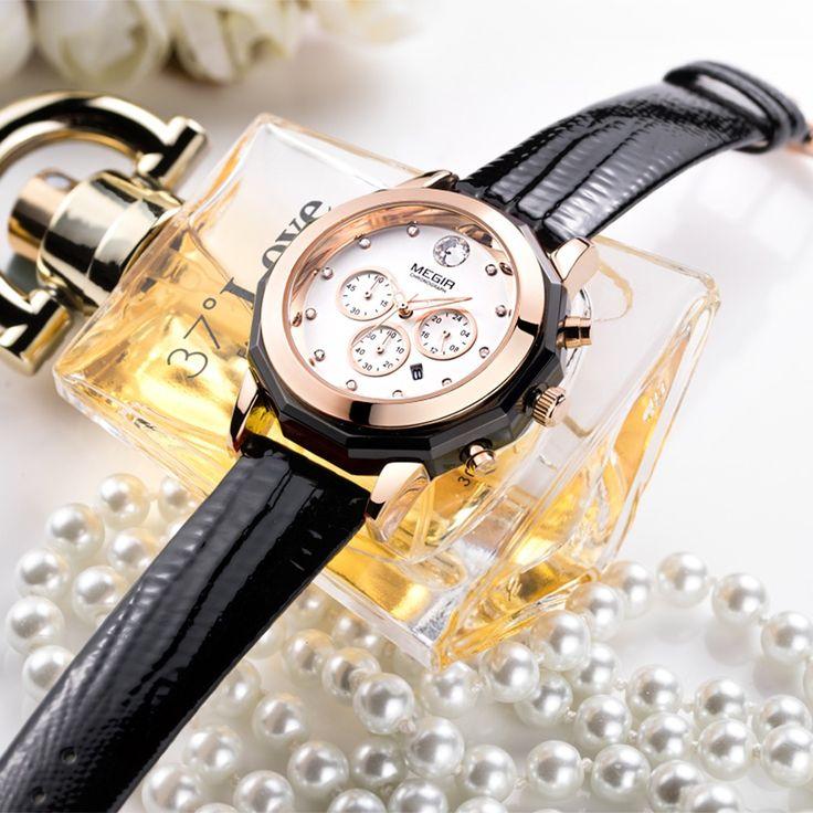 black MEGIR 2017 Luxury Diamond Genuine Leather Luminous Women - Tomtop.com