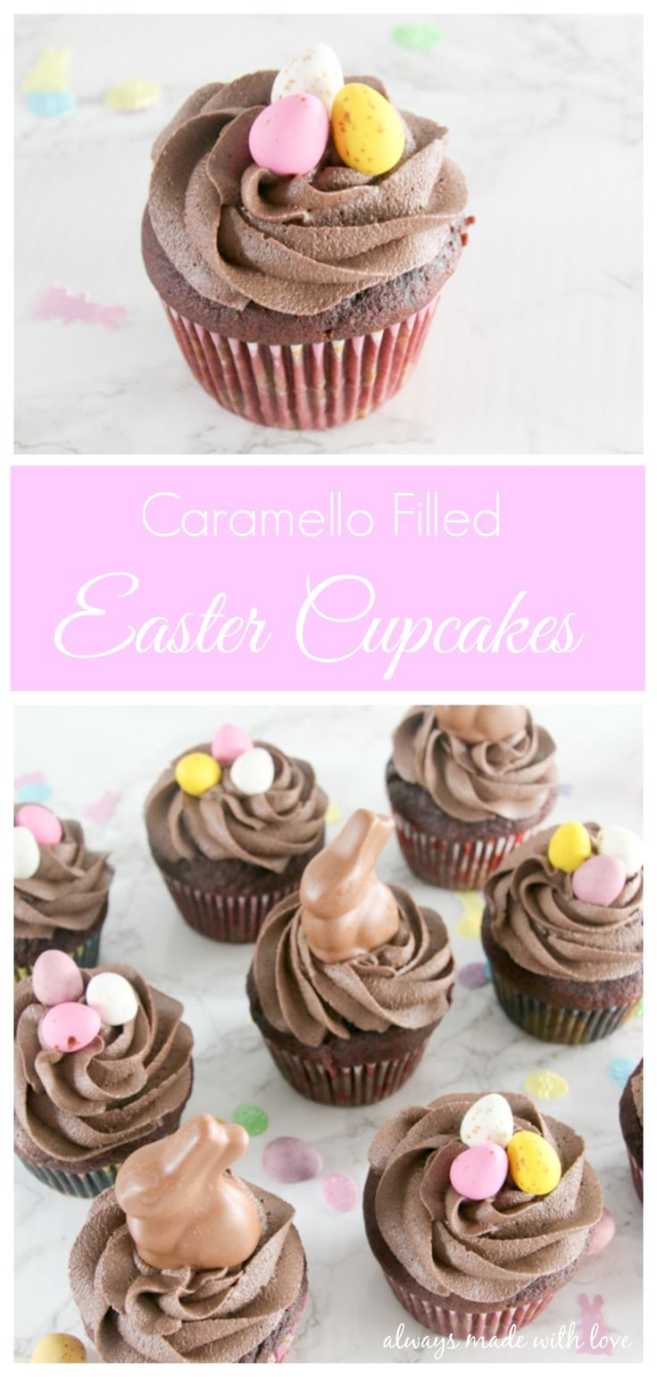 A chocolate lovers dream - a caramello egg inside a yummy moist chocolate cupcake topped with of chocolate buttercream and finished with Easter goodies