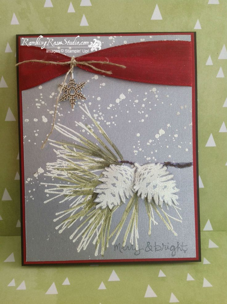Love this ornamental Pine stamp set by Stampin' Up! Ramblingrosestudio.com has done a gorgeous job colouring with Blendabilities over white embossing powder. To purchase in Canada: ilovestampinup.ca