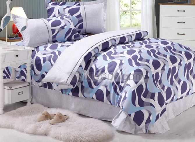Modern Blue and White Wavy Shape Cotton Kids Bedding Sets : Tidebuy.com