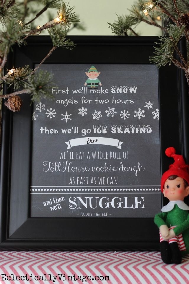 Love the Christmas movie Elf? You'll love FREE Elf Movie Printables with a funny saying, a cute little elf and a chalkboard background.