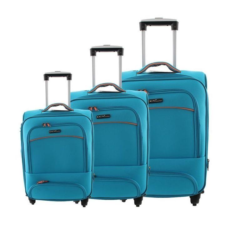 ÇÇS 408 Kumaş 3'Lü Valiz Seti Mavi |