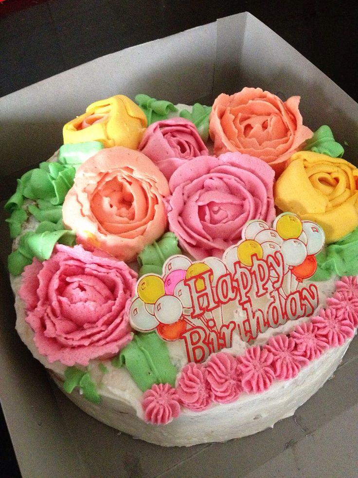 First trial piping , floral buttercream.. Need to practice more..