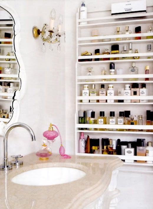 30 Amazing Feminine Bathroom Design Ideas...perfume and makeup storage idea