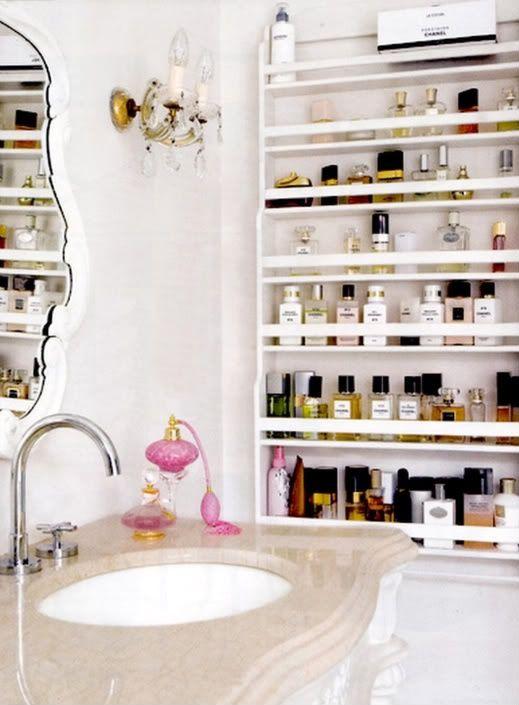 30 Amazing Feminine Bathroom Design Ideas...perfume and makeup storage idea