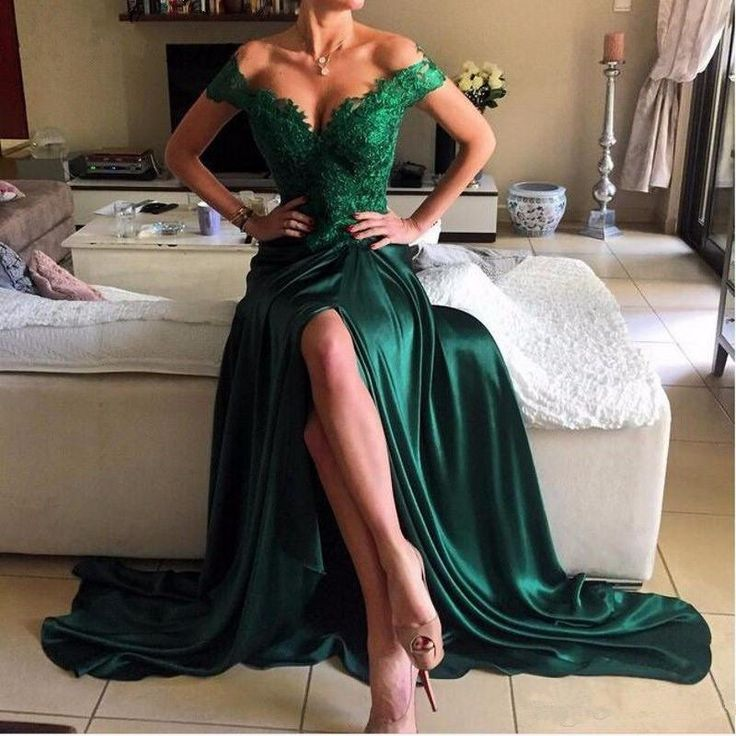 Dark-Green Open-Back Elegant Appliques Off-the-shoulder Lace Evening Dress_Evening Dresses_Special Occasion Dresses_Buy High Quality Dresses from Dress Factory - Newarrivaldress.com