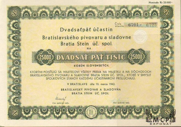 A2257 Muzeum cennych papiru / Bratislavský pivovar a sladovňa Bratia Stein úč. spol./ akcie na majitele ) Inhaberaktie) 25 000 Ks (25 x 1000 Ks)Bratislava 10.3.1942 / AZP4CZ049