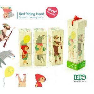 Nowość 2014. Bajo 99250 - Klocki Drewniane dla Dzieci - Czerwony kapturek - Puzzle dla Dzieci od 2 lat. Pozwala on na ułożenie 4 różnych obrazków. Zobacz jakich na stronie