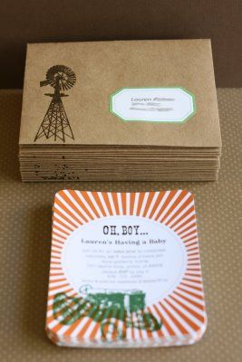 tractor/country baby shower invitations