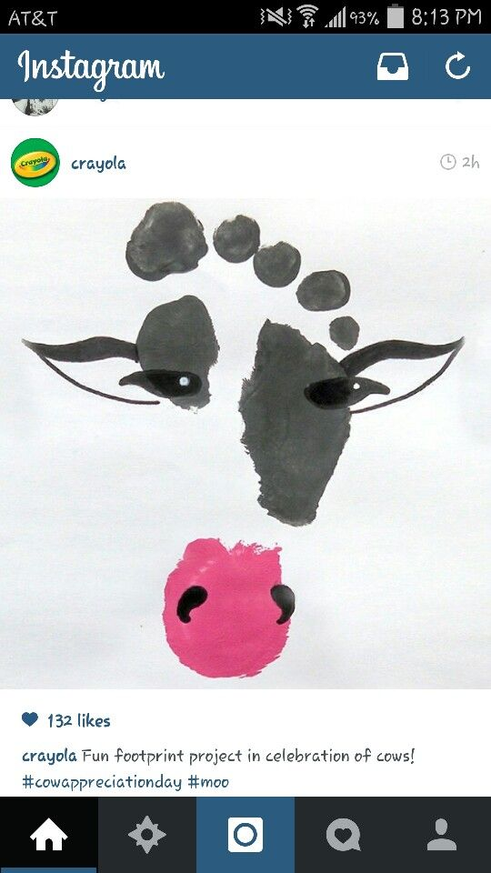 Cow footprint … | Toddler art, Footprint art, Baby crafts