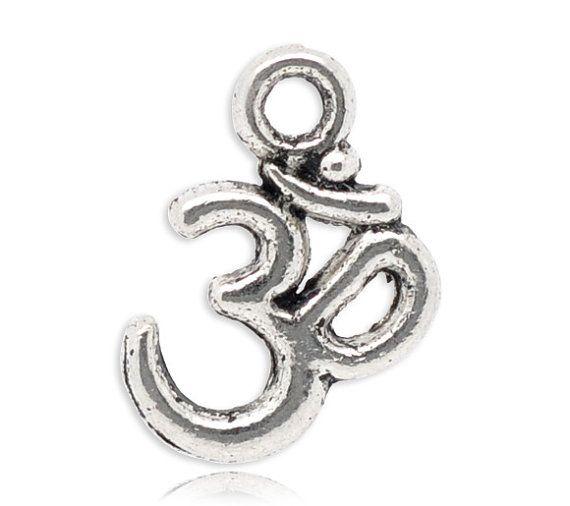 10 Silver Tone OM SYMBOL YOGA Charm Pendants by SmartParts on Etsy, $1.99