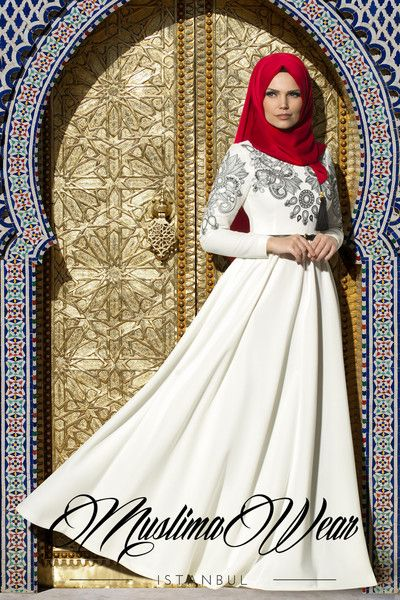 Muslima Wear 2015 Dress in white cream color with black silk embroidery