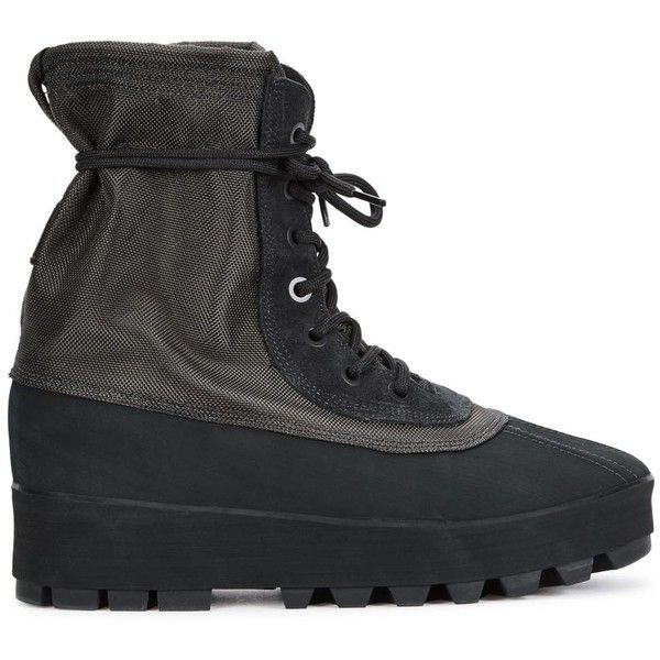 Yeezy Season 1 Yeezy Boost 950 charcoal canvas boots ($530) ❤ liked on Polyvore featuring shoes, boots, lacing boots, chunky lace up boots, canvas lace up shoes, rounded toe boots and adidas originals shoes