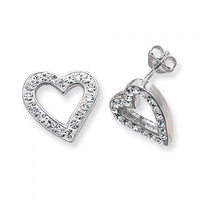 925 SILVER WHITE CRYSTAL IFFANY STYLE OPEN HEART STUD EARRINGS - Attenborough Pawnbrokers & Jewellers #silver #valentinesday #love #heart #earrings #jewellery #attenborough #bethnalgreen #london