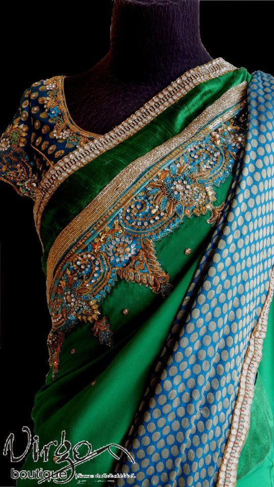 green zardosi work sari virgo boutique bangalore