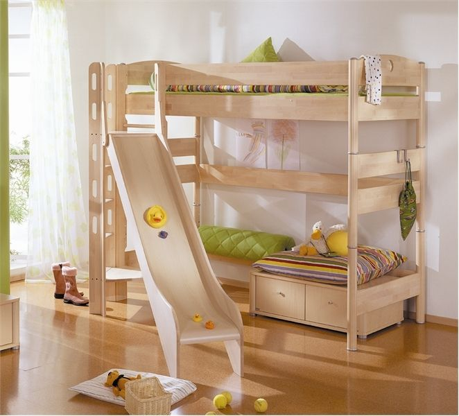 Would Look Great In A Log Cabin! BunkBed With Slide. What A Cool Idea! A  Room For Kids To Grow,apartment Ideas,For The Home,Home,