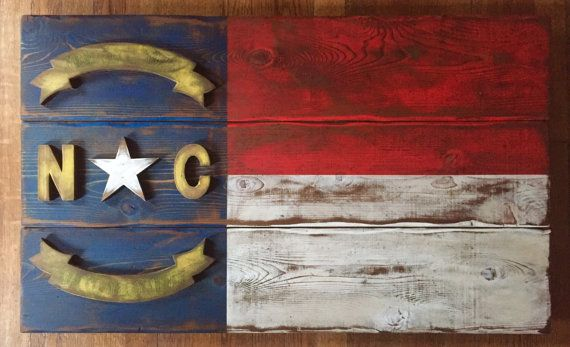 Handmade Rustic Wood North Carolina Flag by PiedmontBrand on Etsy. This is for ME!!! The moment I move to NC I am buying this.