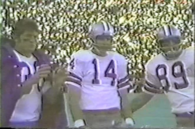 Running back DAN REEVES (30), quarterback CRAIG MORTON (14) and tight end MIKE DITKA (89)--December 26, 1970 (NFC Playoff)