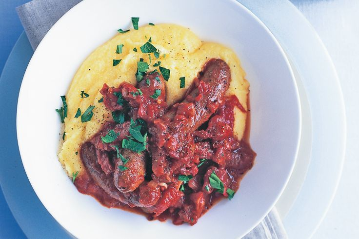 Tomato & sausage stew with soft polenta