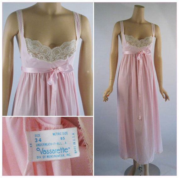 Vintage Nightgown Pink Nylon and Lace Babydoll by alleycatsvintage, $38.00