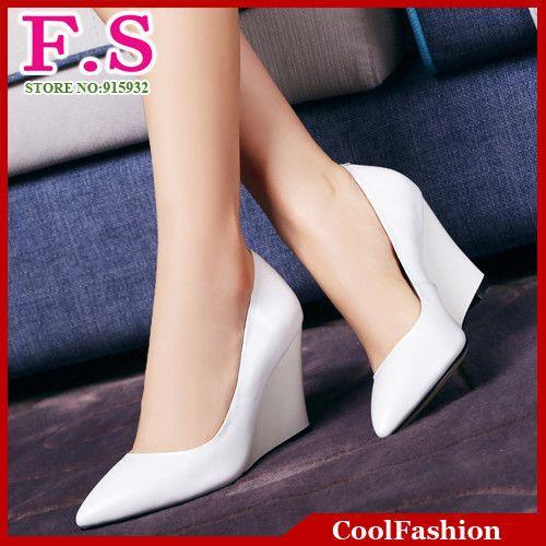 Туфли на высоком каблуке 2015 новый бренд дизайн женщины кожаные ботинки мода сексуальная острым носом высокие каблуки клин обувь менее платформа