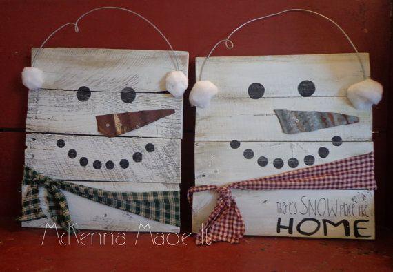 Snowman Pallet Wood Sign! Door Hanger, Christmas Decor, Winter Decor, Snow Place Like Home, Square Snowman, Snowball, Let It Snow, Rustic
