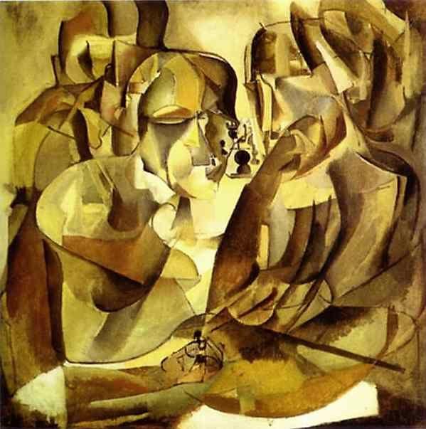 """Retrato de jugadores de ajedrez"", óleo sobre lienzo de Marcel Duchamp (1887-1968, France)"