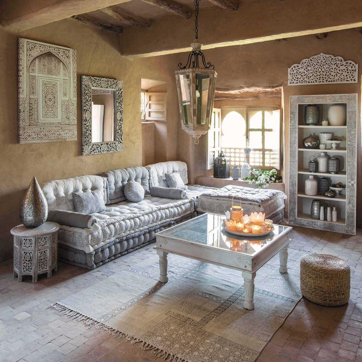 Banquette d'angle modulable 6 places en coton grise et blanche Goa | Maisons du Monde