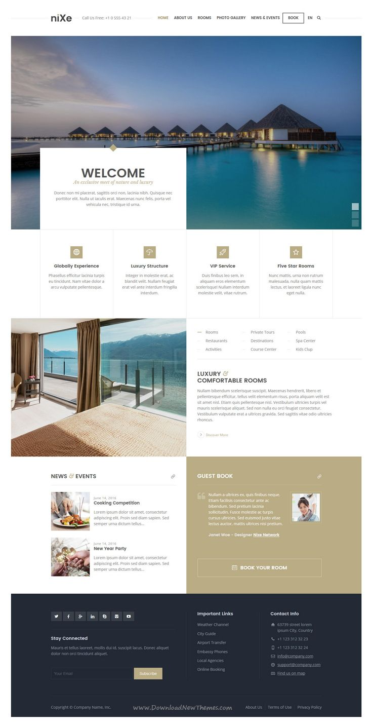 Nixe is responsive WordPress theme for places such as facilities, #hotels, clubs, #resorts, museums, galleries #website. Download Now!