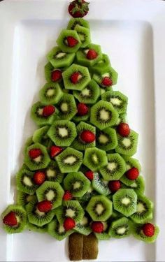 Cute kiwi raspberry Christmas tree great for the Christmas parties you plan for