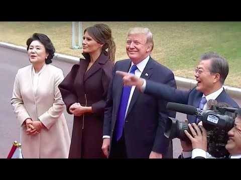 President Trump & Melania Attend AMAZING Welcome Ceremony in South Korea 11/7/17 - YouTube