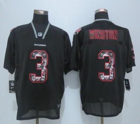 b67042021 ... Nike Tampa Bay Buccaneers Jersey 3 Jameis Winston Lights Out Black  Ornamented Elite Jerseys Mens ...