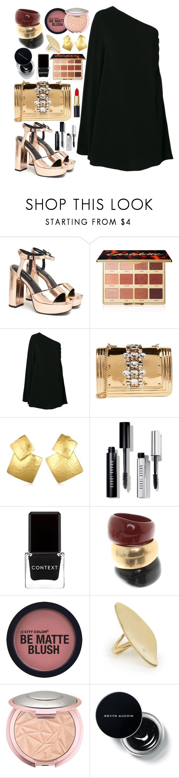 """Golden black"" by missbeatniks ❤ liked on Polyvore featuring Senso, tarte, Yves Saint Laurent, GEDEBE, Oscar de la Renta, Bobbi Brown Cosmetics, Context, Salvatore Ferragamo and Calder"