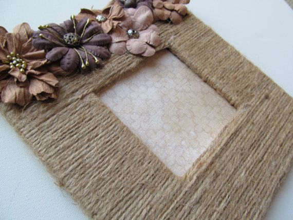 Natural Jute Twine Picture Frame by 2GirlsForever on Etsy, $17.95