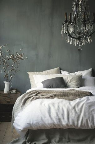 Contemporary Master Bedroom with Chandelier, West Elm Belgian Linen Duvet Cover - White, Hardwood floors