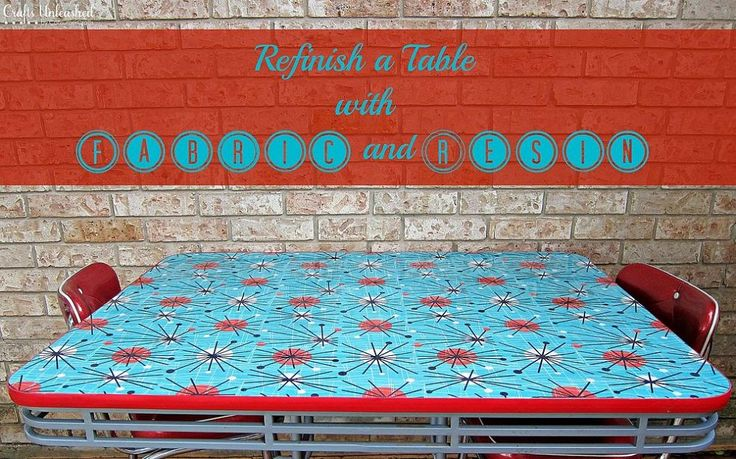 Refinish a Table With Fabric and Resin! This would also be great for vintage trailer tables and counters.