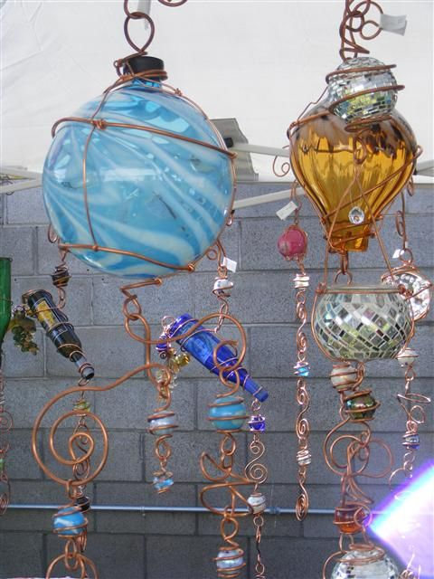 sun catcher wind chime - recycled glass with copper wire