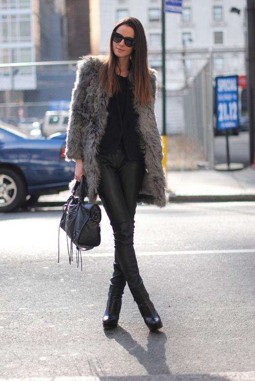 Shop this look on Lookastic:  http://lookastic.com/women/looks/crew-neck-t-shirt-cardigan-fur-coat-skinny-pants-tote-bag-ankle-boots-sunglasses/5505  — Black Crew-neck T-shirt  — Black Cardigan  — Charcoal Fur Coat  — Black Leather Skinny Pants  — Black Leather Tote Bag  — Black Leather Ankle Boots  — Black Sunglasses