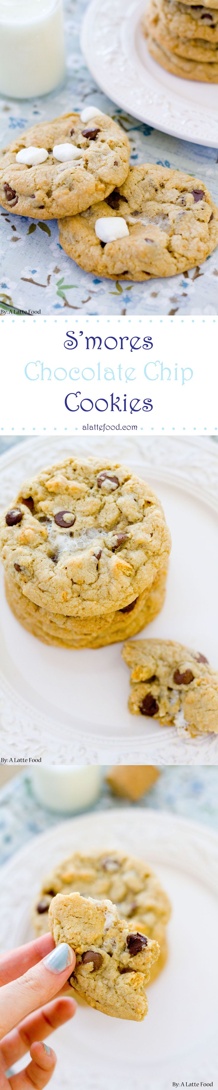 S'more Chocolate Chip Cookies: Your life will never be the same after these cookies. They're thick, soft and chewy, and full of graham crackers, chocolate, and marshmallowy goodness.